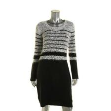 Calvin Klein 4112 Womens B/W Knit Long Sleeves Knee-Length Sweaterdress XS BHFO