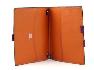 Auth HERMES Agenda Pink Orange Leather Day Planner Organizer Diary Address Cover