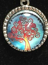 "Tree of Life Winter Red Swirls Charm Tibetan Silver with 18"" Necklace A2B"