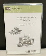 Stampin Up HARVEST BLESSINGS Tractor Farm Farming Cling Rubber Stamps Set