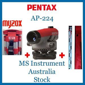 Pentax Automatic Optical Dumpy Level AP 224 X24 Zooms + Myzox Tripod + 3m Staff