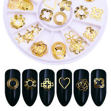 3D Nail Art Decoration in Wheel Heart Star Round Gold Alloy Rivet Nail Decors