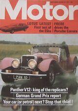 Motor magazine 10/8/1974 featuring Lotus Elite road test, Porsche, Panther
