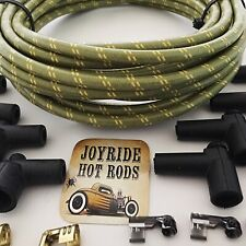 Green/Yellow Cloth Covered Spark Plug Wire Kit for ELECTRONIC IGNITION SYSTEMS