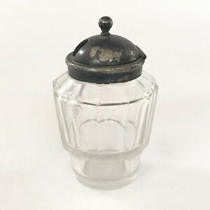 Antique Unique Shape Beautiful Cut Glass Container Silver Cap. G16-133