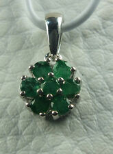 DELIGHTFUL ZAMBIAN EMERALD (RND) FLORAL PENDANT (ONLY) 925 SS 0.75CT