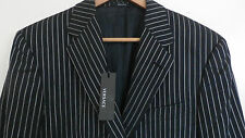 VERSACE Couture 2B black silver striped slim fit flat front suit 40 42R ITALY