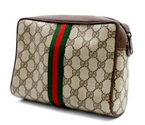 【Rank A】 Authentic Gucci GG Supreme Sherry Clutch Hand Bag Second PVC Vintage