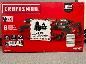 Craftsman CMCK600D2 6-Tool 20V Combo Tool Kit (2 Batteries, Charger, & Bag) NEW
