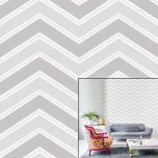 Coloroll Chevron Grey Wallpaper M1146 Feature Glitter Geometric Insignia