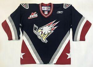 Reebok Tri-City Americans CHL WHL Hockey Jersey Black Youth L / XL Canada Sewn