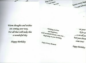 10 x A4 PRE-PRINTED CARD INSERTS to fit A5 CARDS/BIRTHDAY/XMAS/EASTER - and MORE