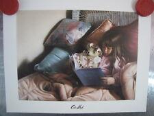 "Collin Bogle ""Bedtime Stories"" open edition card little girl teddy bear book"
