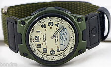 Casio AW-80V-3BV Green Databank Watch Cloth Band 10 Year Battery World Time New