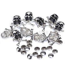 10 Set Metal Skull Crossbones Rivet Stud leather Decoration craft DIY 25 x 18mm