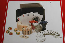 TOMMY HILFIGER POKER GIFT SET PLAYING CARDS DOMINOS POKER CHIPS DICE LEATHER BOX