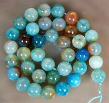 10mm Blue Dragon Veins Agate Round Gems Loose Beads Strand 15""