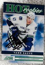 Vancouver Canucks Yann Sauve Signed 11/12 Score Hot Rookies Card Auto