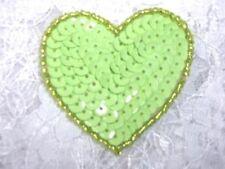 "0363 ~ LIME GREEN ~ HEART BEADED SEQUIN APPLIQUE 2"""