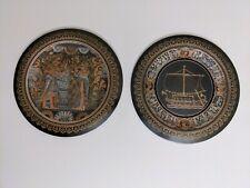 Vintage El-Shami Egyptian Decorative Copper Plates, Set of 2