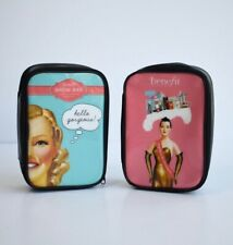 New BENEFIT Cosmetic/ Makeup Zippered Travel Bags Bundle Of 2
