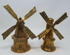 Two Antique Solid  Heavy Brass Ornamental Dutch Windmills x 27.5 & 25 cms Tall