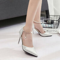 Women's Bling Stilettos Strap Slim High Heels Pumps Wedding Pointed Toe Shoes Sz