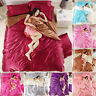 4 PCS Solid Silk Bedding Sets Sheets Duvet Cover Pillowcase Sheet Twin King Size