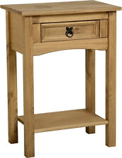 Lamp Side End Table Console Hall Display Unit Corona Light Waxed Solid Pine