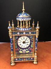 Brass & hand painted blue enamel 4 post mantle clock w/ quartz movement