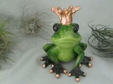 GREEN PRINCE FROG GOLD CROWN SMILING ROMANTIC RESIN Sculpture FREE SHIPPING