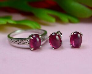 925 Sterling Silver Natural Pink Ruby Cabochon Gemstone Ring Earring Jewelry Set