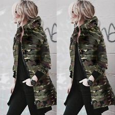 Womens Hooded Long Sleeve Coat Jacket Windbreaker Camouflage Outwear