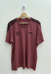 ADIDAS Manchester United Three Stripe T-Shirt Size L MUFC RONALDO