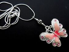 A TIBETAN SILVER PINK  BUTTERFLY  THEMED NECKLACE. NEW.