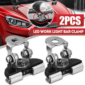 2pcs Pillar Hood Clamp Holder Work Light Universal LED Bar Mount Bracket Offroad