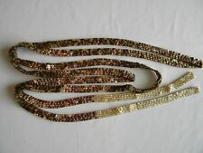 """Brown & Gold Size 11 Triangle Seed Beads Peyote Stitch Lariat Long Necklace 71"""""""