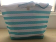 Clairns Turquoise and White Striped Shopper BNWT