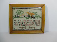 Cross Stitch Sampler Framed Glass House Vintage Friend Quote Hand Sewn Linen
