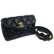 b1a0125d3f6a70 Authentic CHANEL Quilted Waist Bag Bum Bag Navy Leather Vintage GHW GS01272c
