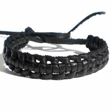 BLACK REAL SOFT LEATHER CROSS WOVEN FRIENDSHIP BRACELET WRISTBAND TIE ON STRAP