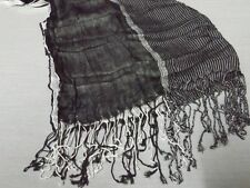 AT COMPANY 3 SIDE BLACK WHITE LONG TASSEL TEXTURE WOVEN SCARF SHAWL BNWOT WRAP