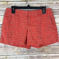 LOFT Womens Shorts Linen Cotton Chino Style Orange Ikat Print Pockets Size 4