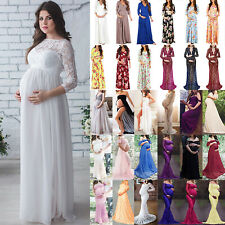 Pregnant Women Maternity Lace Long Maxi Dress Photography Wedding Party Gown
