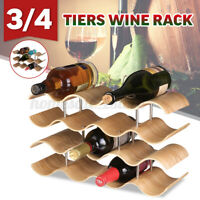 3/4 Tiers Wine Rack Bottle Holder Alcohol Tabletop Wood Bamboo Beer Bar Kitchen