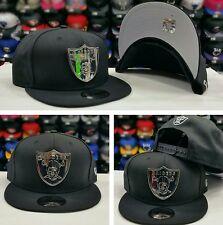 New Era Silver Metal Shield Badge NFL Oakland Raiders 950 Snapback hat BLACK