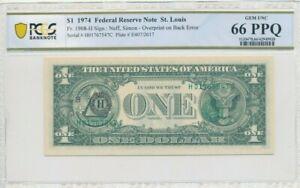 1974 Federal Reserve Note $1 Overprint on Back Error Gem 66 PPQ St Louis CO626