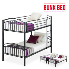 Modern 3FT Black Metal Bunk Bed Split into 2 Single Beds for Twins Adult Kids