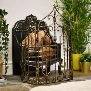 Antique Bronze Finish Gothic Fire Screen Fire Guard With Glass Candle Holders