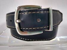 Men's Wrangler Black Leather Belt size 32 STITCHING Silver tone buckle